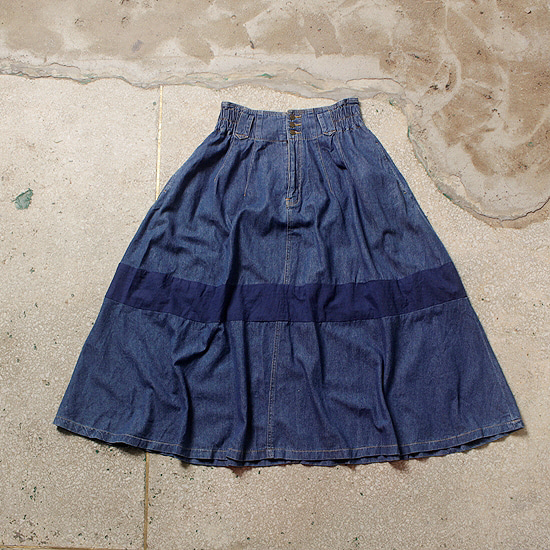 banding wide denim skirt