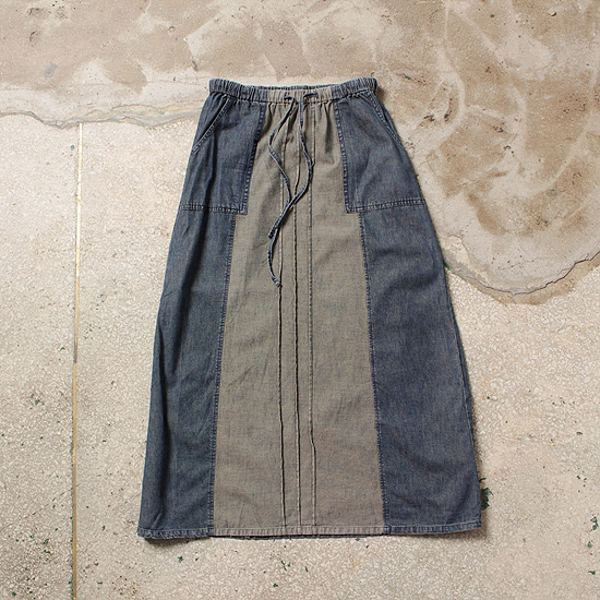 banding denim skirt